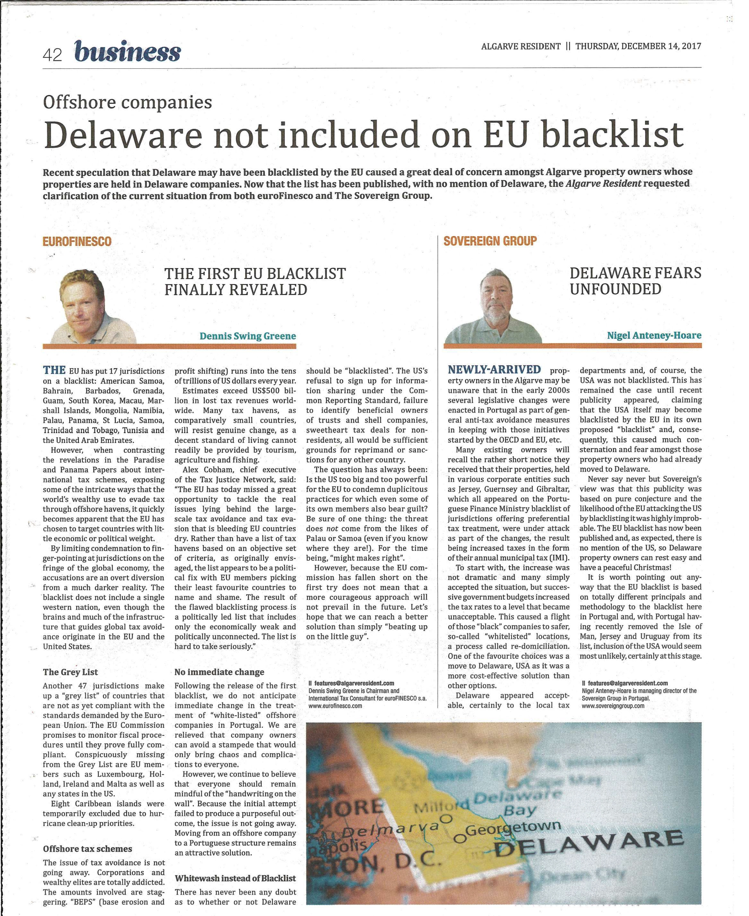 Delaware not included on EU blacklist