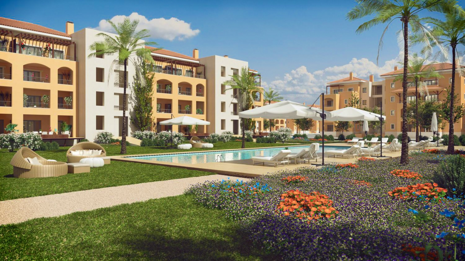 Luxury 1 Bedroom Penthouse Apartments on Golf Course, Vilamoura | VM1010 Off plan 1 bedroom penthouse apartments on a golf course, close to beaches and all amenities, in Vilamoura. The apartment has spacious balconies and a parking space in the garage.