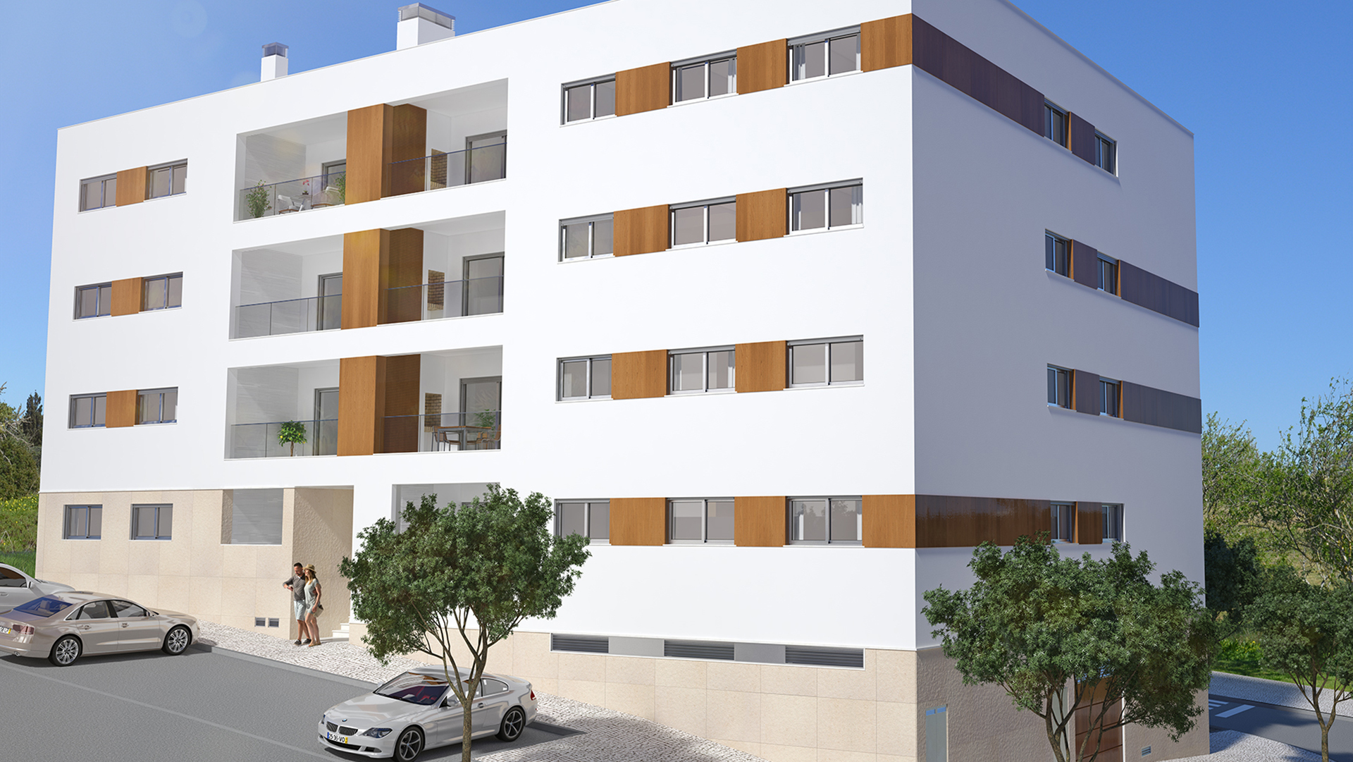 New 2 bedroom apartments with communal roof terrace and jacuzzis, central Lagos, West Algarve | LG1243 This brand-new four storey building is built to very high specifications. Located in the centre of town, within walking distance of all amenities and in an urbanization of recently constructed buildings. Features include a large roof terrace with two communal Jacuzzis and panoramic views of the city and marina. Ideal for use as a fulltime residence or rental property. Underground boxed garages and lockable storage room.