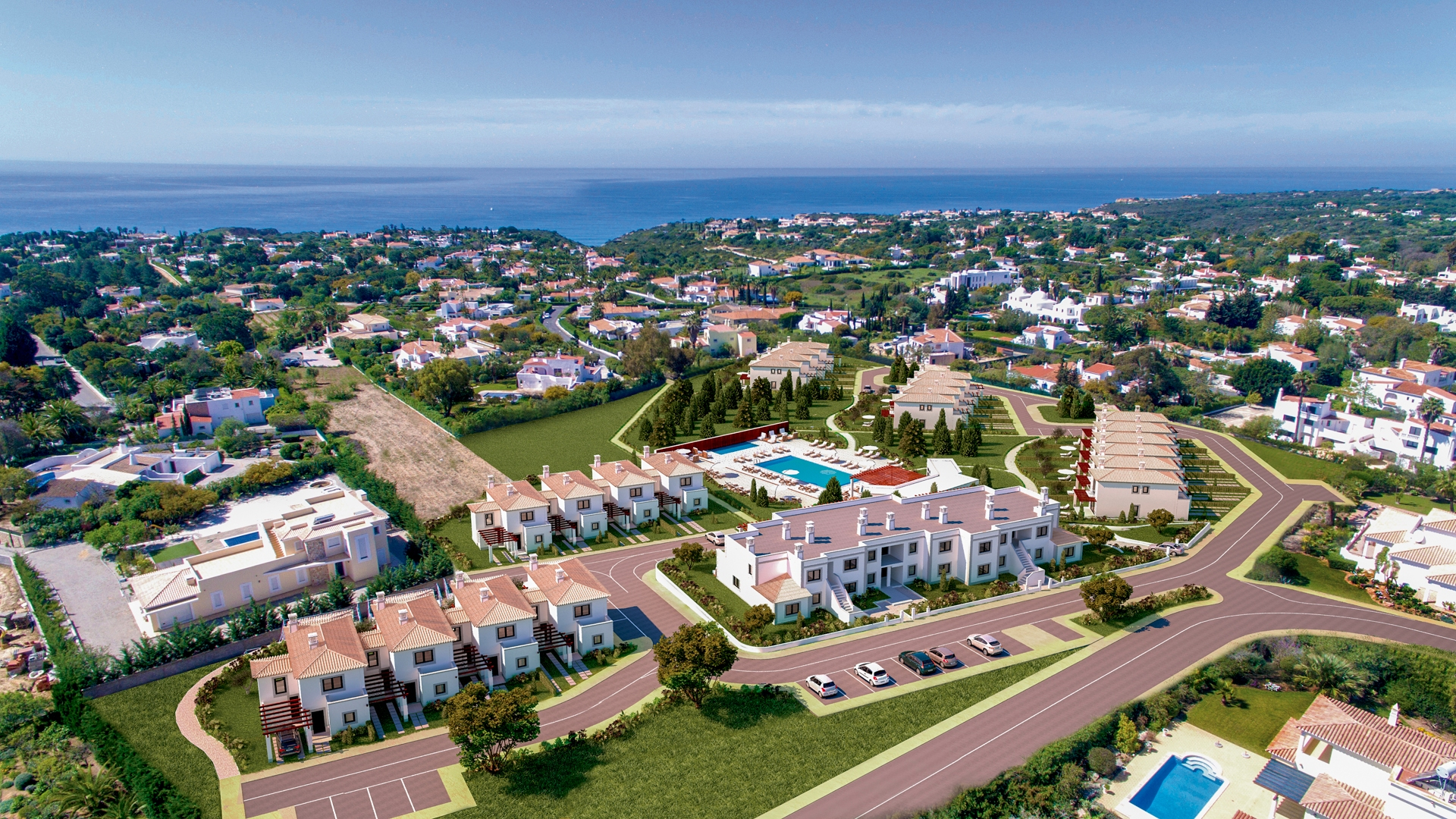 2 Bedroom Townhouses with Sea Views in a Resort, Carvoeiro | PCC1384 The Resort is surrounded by private villas which means the it is not exposed to traffic and therefore very quiet.