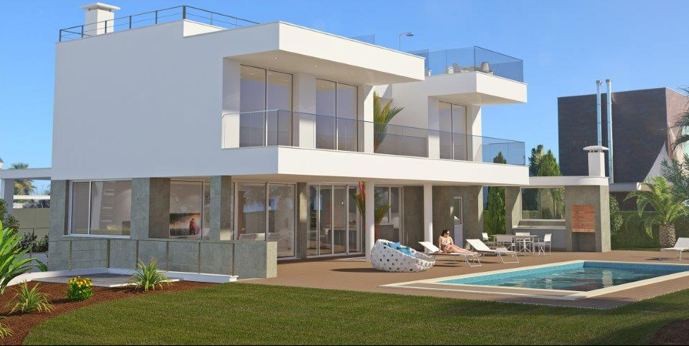 Plot and construction of luxury 3 bedroom villa with sea views near Lagos, West Algarve | LG791 Plot and construction of a luxury 3 bedroom villa with sea views in Porto de Mós, Lagos. Highly sought after with high specifications throughout. Includes swimming pool, ample terraces and landscaped garden. 600m from the beach and within a few minutes drive of the historic centre of Lagos and all of its amenities.