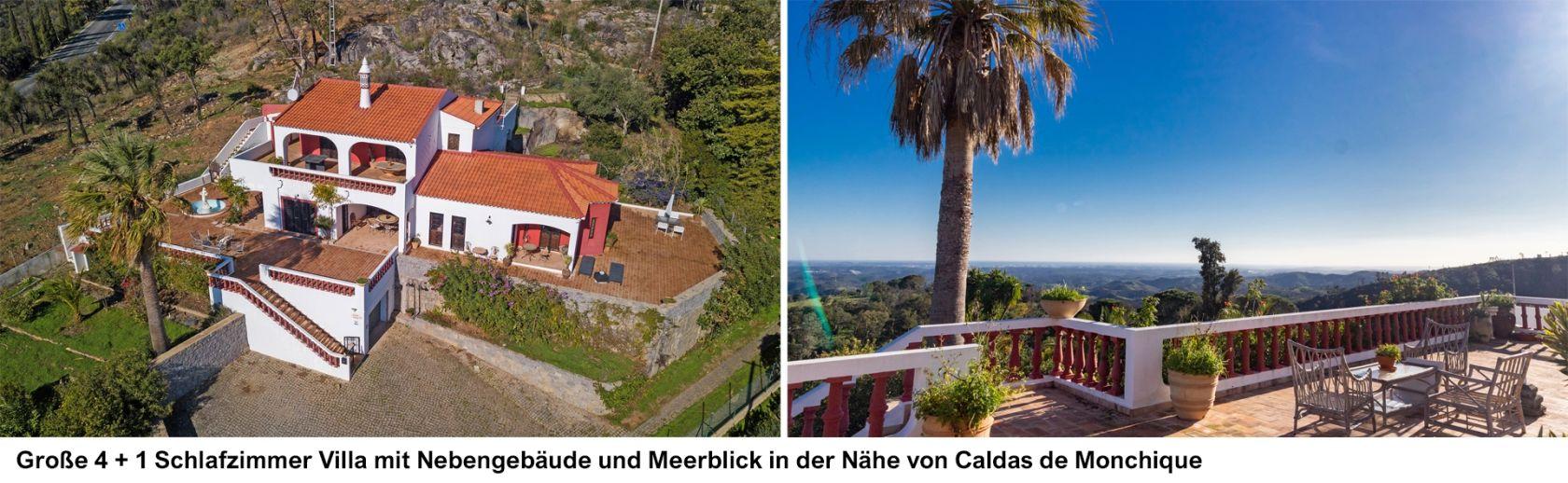 LG1563-Große 4 + 1 Schlafzimmer Villa mit Nebengebäude und Meerblick in der Nähe von Caldas de Monchique