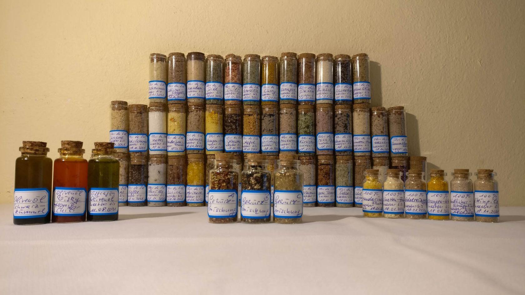 Flor de Sal aux essences, mélanges d'épices, vinaigrette française