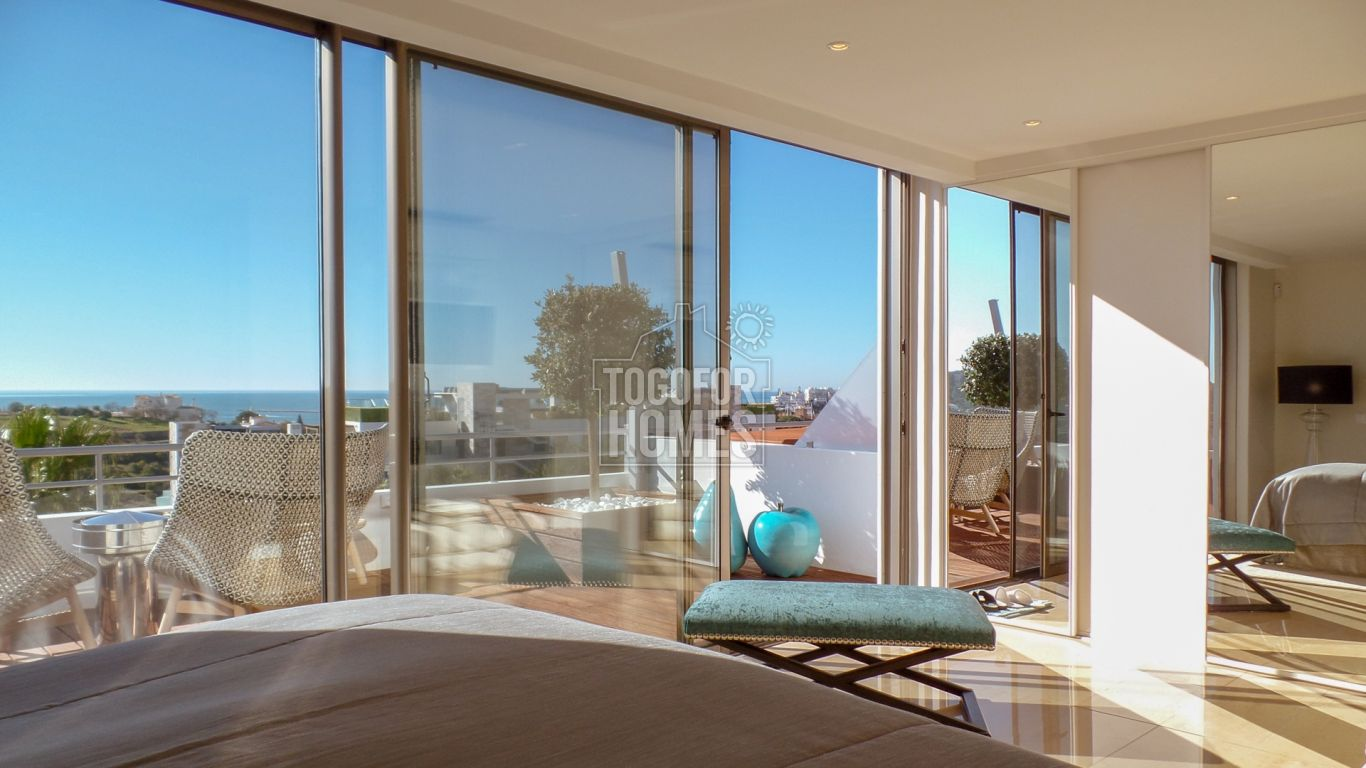 VM1339 - Exclusive, south facing sea view penthouse duplex 3 bedroom apartment with heated pool in luxury condo in Ferragudo